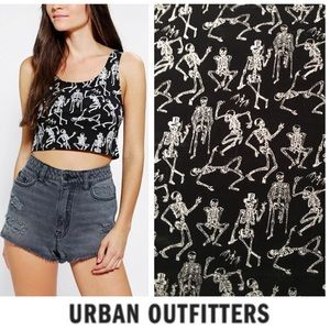 NWOT Out From Unser Skeleton Dance Party Crop Top